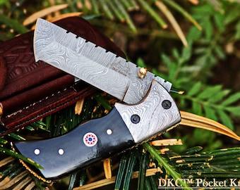 "DKC-27- WIZARD Tanto Folding Pocket Knife handmade usa damascus knife great quality hunting knife 7"" Long 4"" Folded 6 oz DKC Knives"