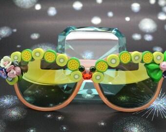 Salmon Oval Shape Kawaii Fancy Deco Sunglasses.