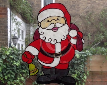Father Christmas Santa window cling, hand painted for glass & mirror areas. Reusable faux stained glass effect static cling decal, Christmas