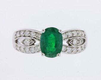 14kt Gold Marvelous Natural Emerald & Diamond Ring #25950L