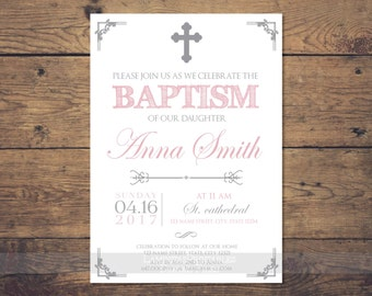 Silver Baptism invitation girl, baptism invitation printable, Christening Invitation, silver baptism invitation, Christening invites