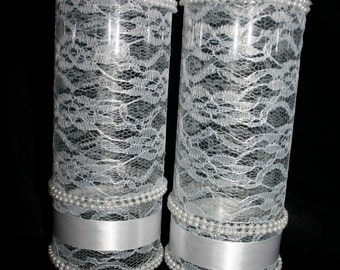 Pearl and Lace Tall Vases (Set of 2)