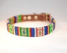 Leather dog collar with tribal fabric - solid, comfort, handmade quality!