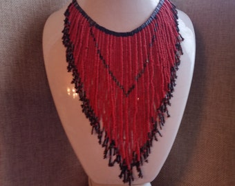 Vintage Multi-Strand Beaded Statement Necklace