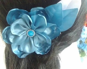 Headpiece, Flower Hair Accessory. Romantic Hair Accessory Navy Blue Metal Comb.