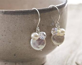 Pearl and Crystal Earrings. Bridal Earrings. Freshwater Pearl. Swarovski Crystal Earrings.
