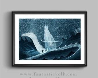 Fantasy art print Surreal illustration download print art print download illlustration print Artist print,surreal,fantastic illustration