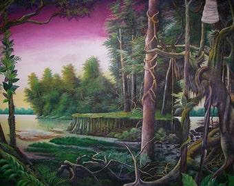 "Primordial Landscape 58"" X 97"" Juan Amaringo"