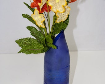 Re-purposed and cut glass bottle vases