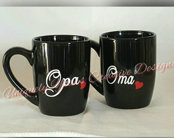 Oma and Opa Mug Set, Nana and Papa Mug Set, New Grandparents Gift, Pregnancy Reveal, Pregnancy Announcement,  Personalized Gift, Gift Set,