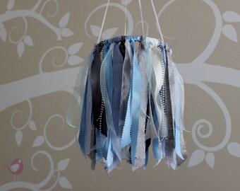 Blue gray baby mobile, baby boy nursery mobile, burlap fabric ribbon shabby chic crib mobile