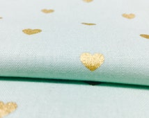 Mint and Metallic Gold Hearts Fabric, Soft Geometric Pastel Cotton Fabric for Baby, Nursery Bedding, and Quilt by the Yard