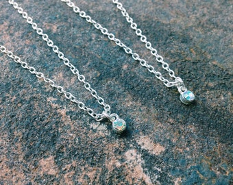 Shiny Silver Chain with Crystal Charm