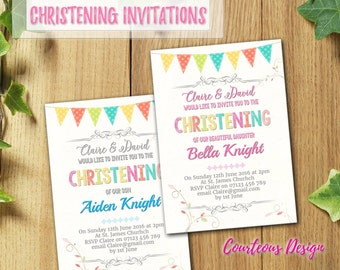 PRINTED & DELIVERED | 12x Christening Invitations | For Boy or Girl | Any Age | Any Message | Birth Announcement | Baptism