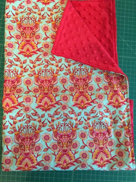 Tula Pink  Moon Shine Deer Me Authentic Red Minky Baby Blanket Crinkle Toy  Pacifier Blanket  Holder Authentic Minky Tula Baby Blanket