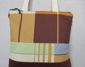 Style in corduroy and cotton fabric stamped tote bag. Tote bag.