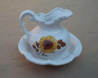 McCoy Pottery; Vintage Pottery; Miniature Pitcher and Basin