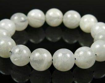 Pure Beauty ~ 8mm Quality Natural White Moonstone Round Bead - 15 beads - #CR5020