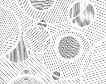Abstract Black and White Art, Abstract Drawing, Black and White Stripe Drawing, Geometric Art, Monochrome Wall Art, Pinstripe Art, Circles