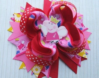 Peppa Pig Hair bows Peppa Pig Birthday Peppa Pig dress Peppa Pig Outfit  Peppa Pig party Girls hair bow Peppa Pig bows Peppa Pig haedbands