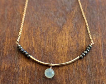 Gold filled Gemstone Necklace, Green Chalcedony and Pyrite Necklace, Gemstone Necklace