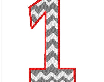 Chevron Number 1 Embroidery design