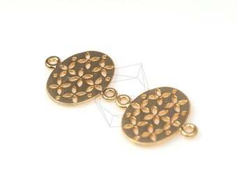 CNT-064-MG/5Pcs-Floral Round Connector/ 17mm x 20mm / Matte Gold Plated over brass