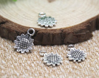 35pcs Sunflower Charms silver Flower charm Pendants Helianthus Annuus Charms Jewelry Making 15x18mm D1660