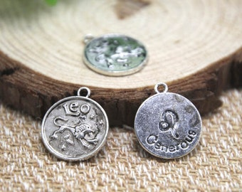 12pcs of Antique silver Leo charms pendants, Zodiac Charm 20x18mm D1589