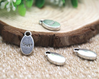 20pcs- trust Charms , Antique Tibetan silver trust charms pendants 16mm x 8mm D1520