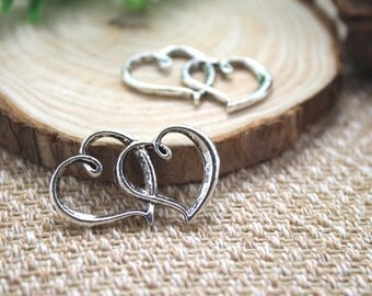 15pcs Heart charms, Antique silver Heart to Heart Charms pendant,heart Connector 33x20mm D1302