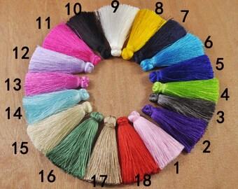 6pc 65mm Assorted color silk tassels,Mini Tassel,High Quality Extra Thick tassels,tassel earring,Tassel Pendants Keychains,Wholesale