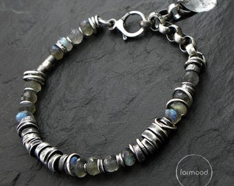 oxidized sterling silver and labradorite - bracelet
