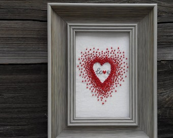 Red Heart French Knot Hand Embroidery Valentine's Day Gift Love Art Embroidery Wall Art Home Decor Wall Hanging  Eco Style Handmade Artwork