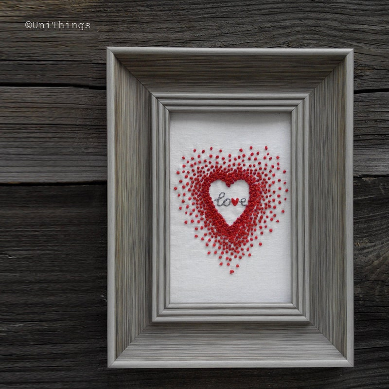 Red heart french knot hand embroidery valentine s day gift
