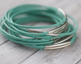 Turquoise leather bangles with silver tube, set of 20 bracelets