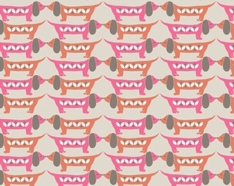 Dachshund Sausage Dog Nose to Nose Sam Cotton Fabric Sam and Mitzi Lewis and Irene FQ