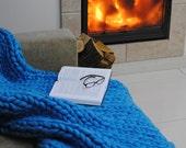 SALE!  Chunky Knit blanket, Gifts, Wool blanket, Knitted blanket, Chunky blanket, Knit Throw, super bulky blanket, Bulky Gift, Light Blue