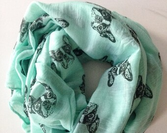 Mint Green French Bulldog Scarf, Frenchie Scarf, French Bulldog Clothing, Women Fashion Accessories, Gift Ideas For Her, Birthday