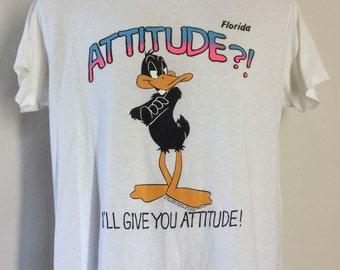 Vtg 1992 Daffy Duck Attitude Florida T-Shirt White L 90s 50/50 Looney Tunes WB Vacation Souvenir
