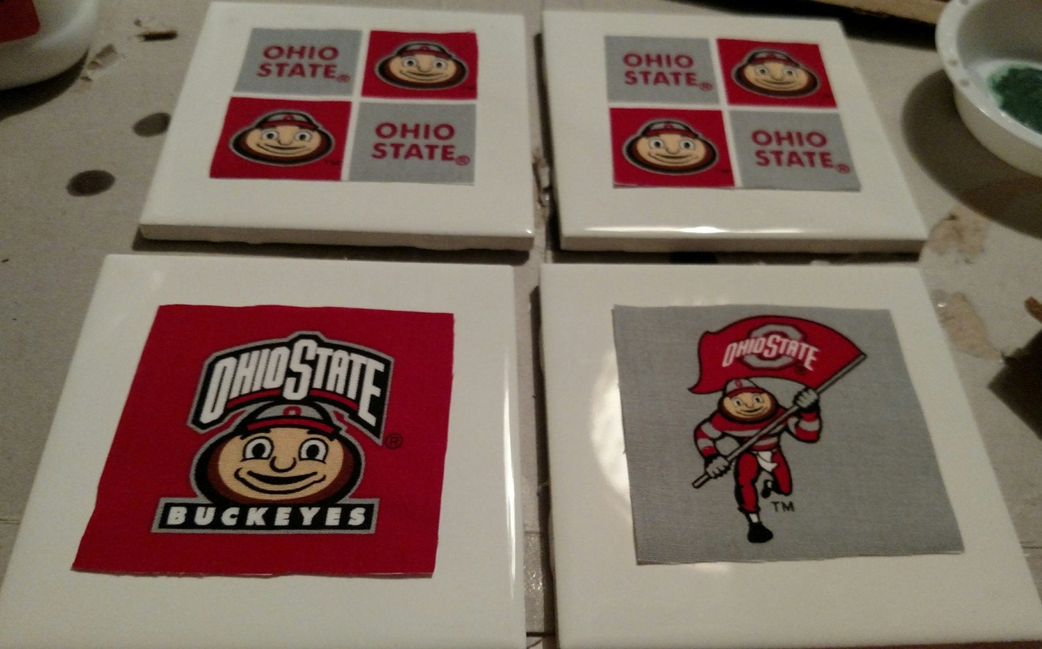 Ohio state drink coasters handmade drink by for Handmade drink coasters