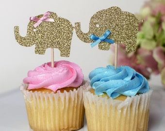 12 Gender reveal cupcake toppers, Elephant Gold cupcake toppers, babyshower decorations