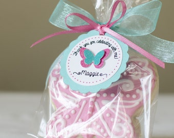 12 Butterfly favor tags, Personalized favor tags