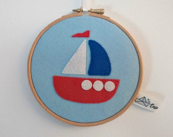 Wood with felt boat frame.