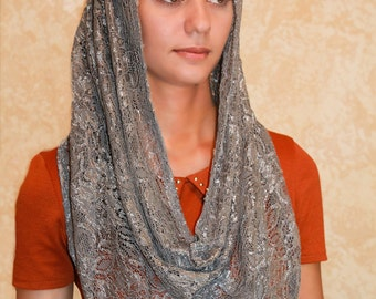 Catholic accessories,Gray mantilla veil,lace scarf,chapel veil,church veil,chapel mantilla,Vintage classic religious head covering