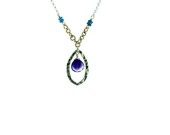 Amethyst Oval Two Tone Necklace