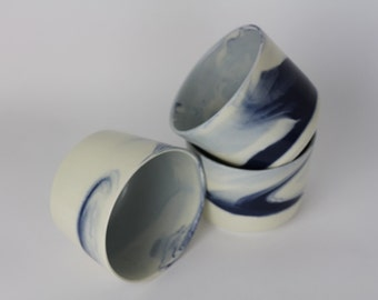 SMALL BOWL. Indigo Marbled Ramekin. Ceramic bowl/vessel.