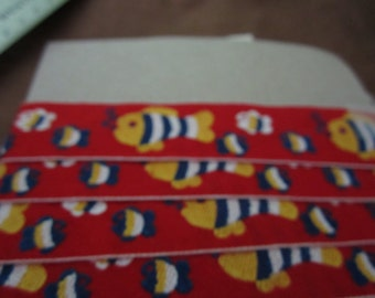 3 yards, Red ribbon braid, blue orange fish, just over 1 inch wide, craft trim, patterned braid, mailed from Canada