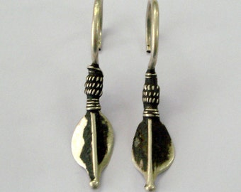 Vintage Antique earrings tribal old silver earring pair gypsy jewellery