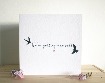 Wedding Invitations and R.S.V.P cards: Swallows & Hearts